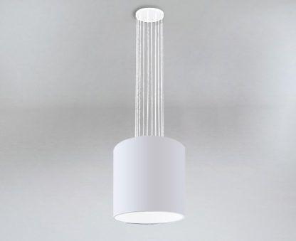 biała lampa wisząca duży abażur