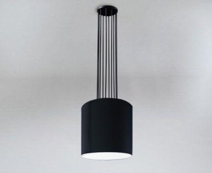 czarna lampa wisząca z dużym abażurem