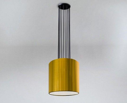 Lampa wisząca IHI ze złotym abażurem - czarna