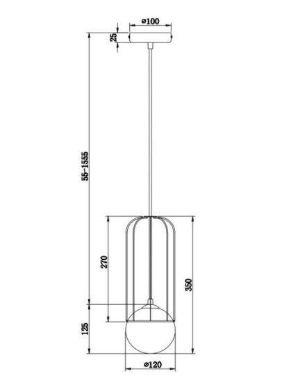 Nowoczesna lampa wisząca Telford - szklany klosz