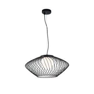 Czarna lampa wisząca Plec - druciany klosz