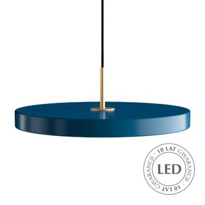 niebieska lampa wisząca led nad stół