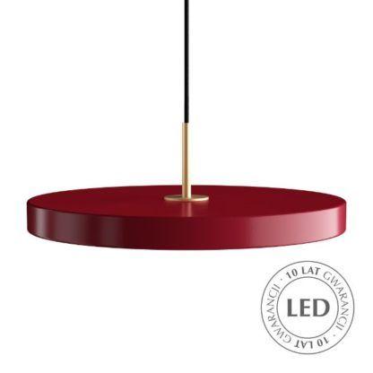 czerwona lampa wisząca płaski klosz