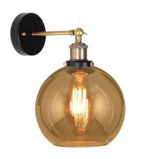 Elegancki kinkiet New York Loft No. 2 - bursztynowe szkło, złoty