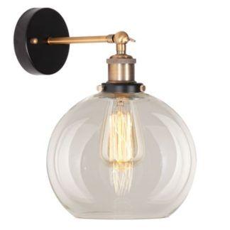 Stylowy kinkiet New York Loft No. 2 - transparentne szkło, złoty