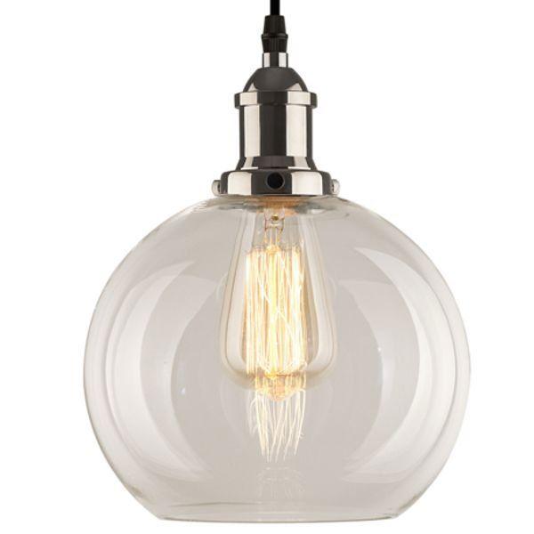lampa szklana srebrna kula