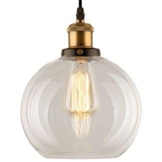 Lampa wisząca New York Loft No. 2 - transparentny klosz, mosiądz
