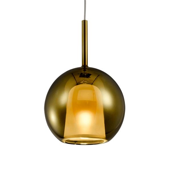 złota lampa wisząca kula