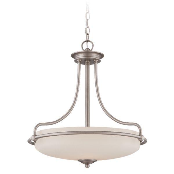 Lampa wisząca Griffin - szklany, biały klosz, antyczny nikiel