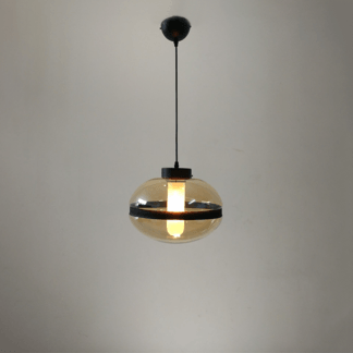 Lampa wisząca Yoko No. 1 czarna - bursztynowe szkło