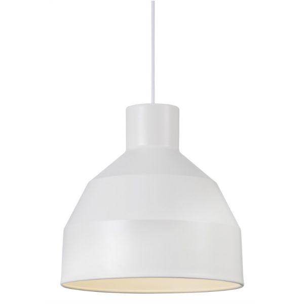 biała lampa na czarnej ścianie aranżacja