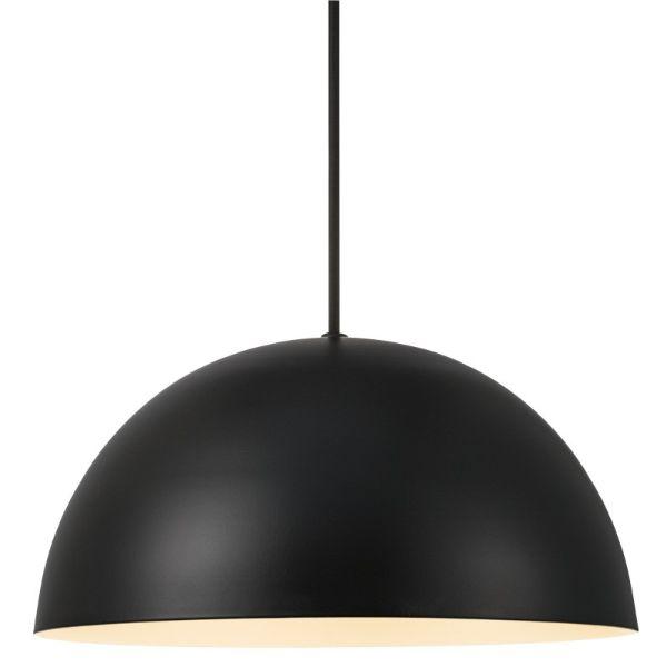 czarna lampa wisząca szara ściana