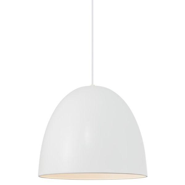 biała lampa wisząca do salonu