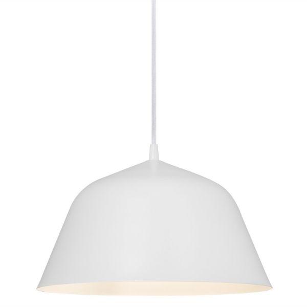 biała lampa wisząca do jadalni