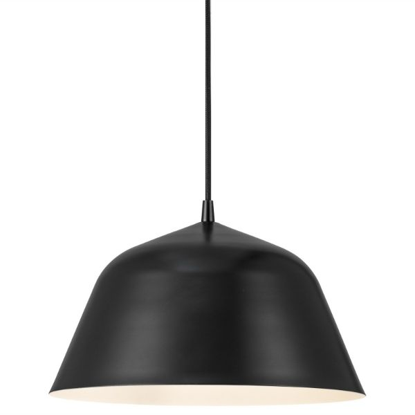 czarna lampa wisząca okrągły klosz