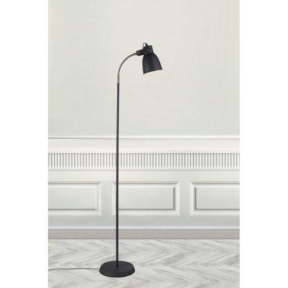 Czarna lampa podłogowa Adrian - Nordlux - giętkie ramię