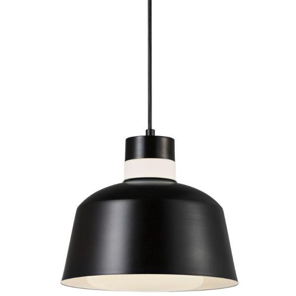 Lampa wisząca Emma - Nordlux - czarny klosz, mleczne szkło