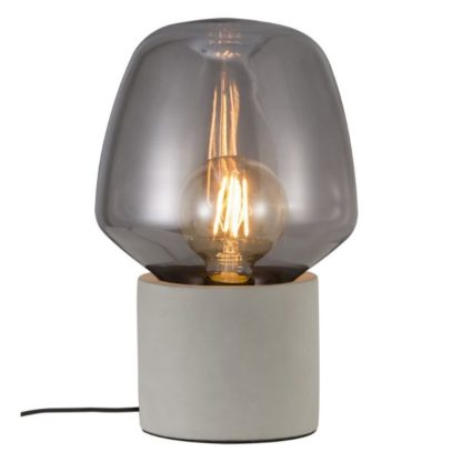 szara lampa stolowa szklany klosz