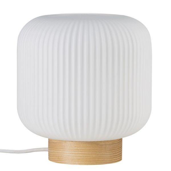lampa stołowa biel i drewno
