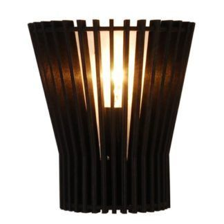 Czarny kinkiet Osaka - drewniany, ażurowy