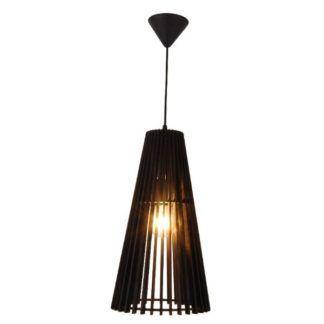 Czarna lampa wisząca Osaka - drewniany klosz