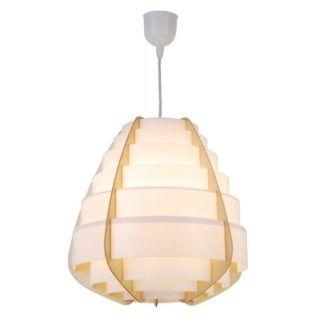 Biała lampa wisząca Nagoja - drewniane elementy