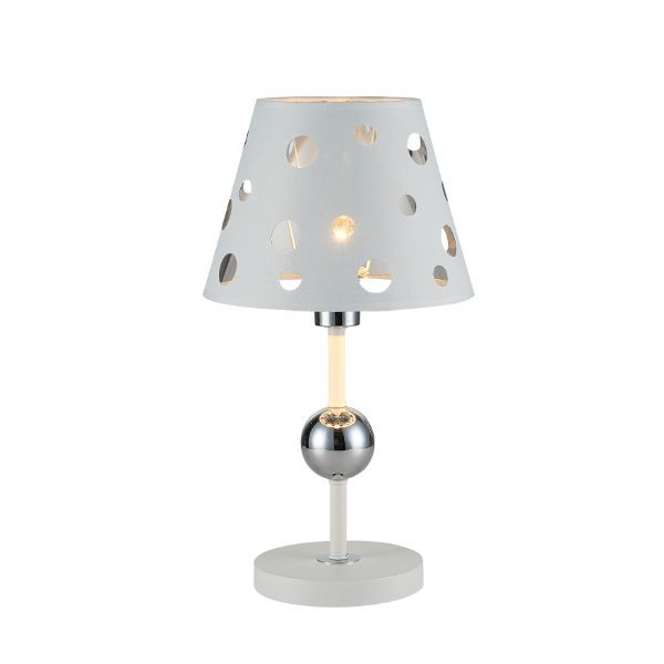 lampa stołowa z połyskliwym abażurem