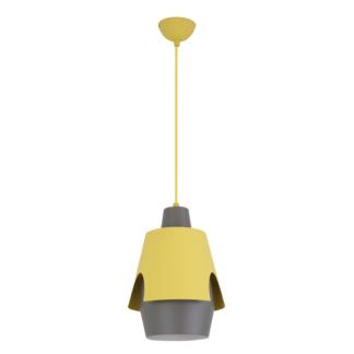 Futurystyczna lampa wisząca Falun - szaro-żółta