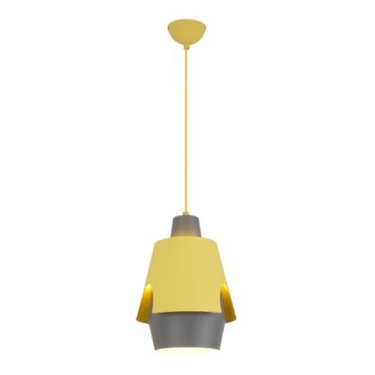 młodzieżowa lampa wisząca szaro-żółta