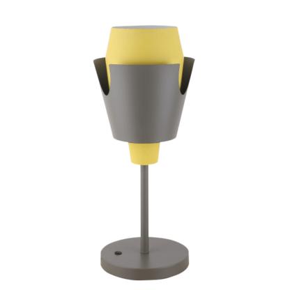 szaro-żółta lampa stołowa