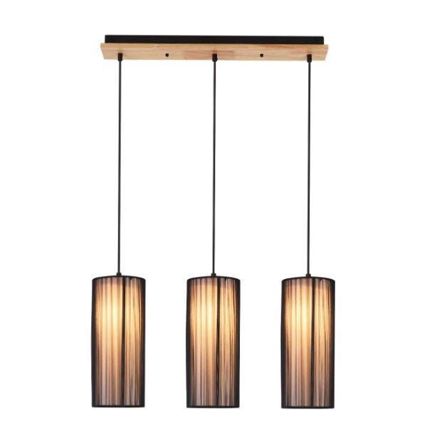 czarna lampa wisząca nad stół 3 klosze