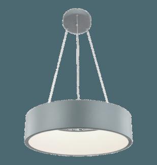 Szara lampa wisząca Malaga - ring ledowy, szeroki piersień