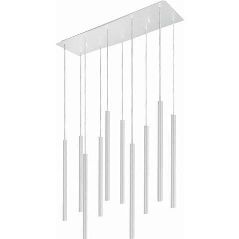 biała lampa wisząca nad stół wąskie klosze kaskada