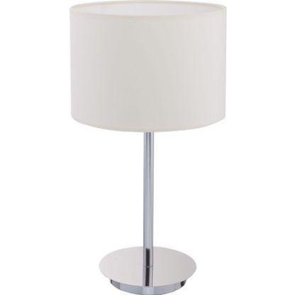 srebrna lampka nocna z białym abażurem