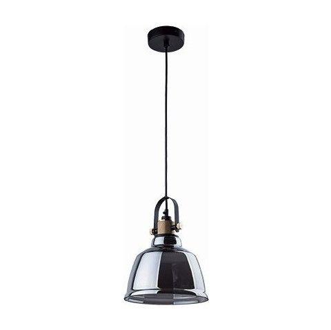 szara lampa wisząca ze szklanym kloszem