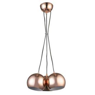 Miedziana lampa wisząca Rame - 3 klosze, kule