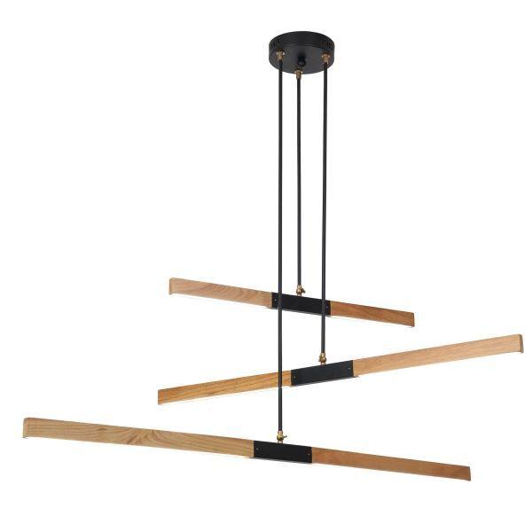 designerka lampa wisząca nad stół drewniana