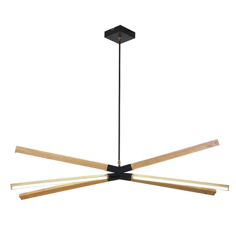 drewniana lampa wisząca nad stół