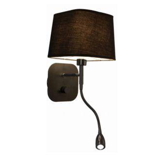 Czarny kinkiet Marbella - abażur, dodatkowy reflektor