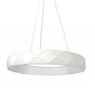 Biała lampa wisząca Reus - geometryczny klosz, LED