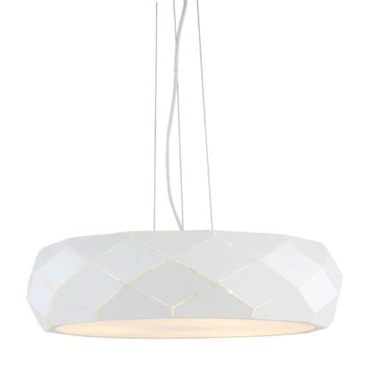 biała lampa wisząca do salonu geometryczna