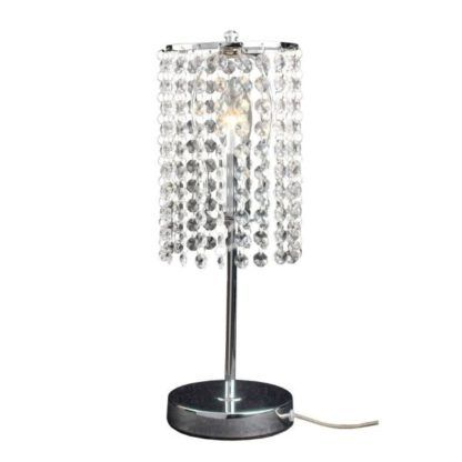 srebrna lampa stołowa z kryształkami