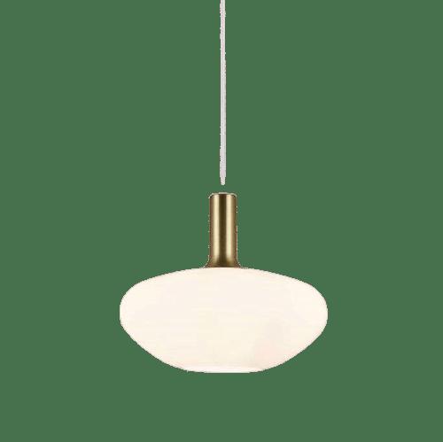 złota lampa z owalnym kloszem