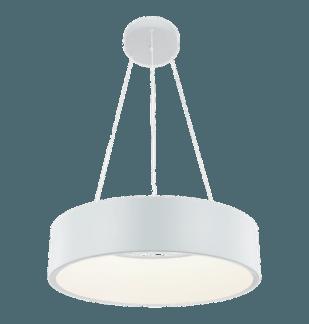 Biała lampa wisząca Malaga - ring ledowy, szeroki piersień