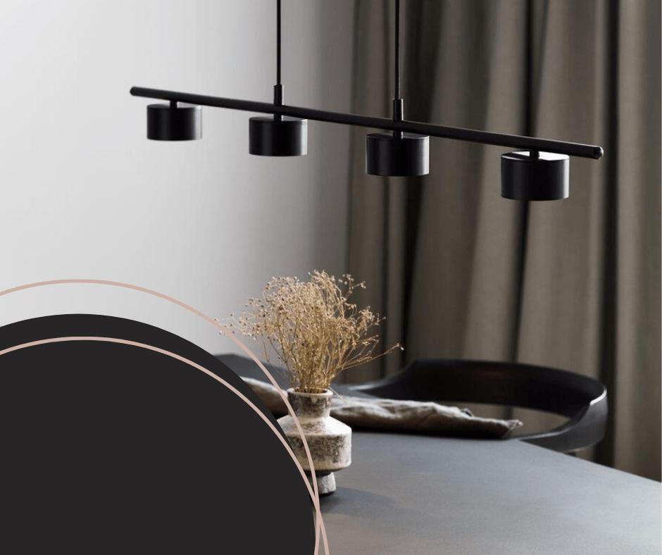 czarna lampa nad stół w kuchni