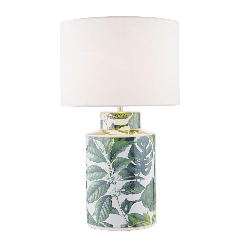 lampa stołowa z kwiatami