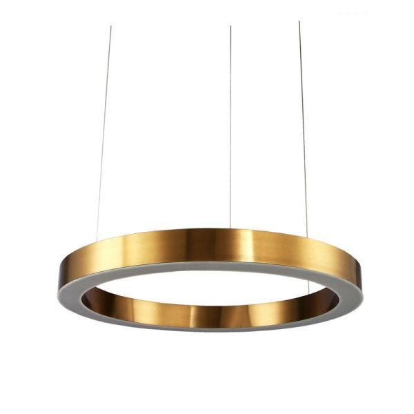 złota lampa wisząca okrągła płaska