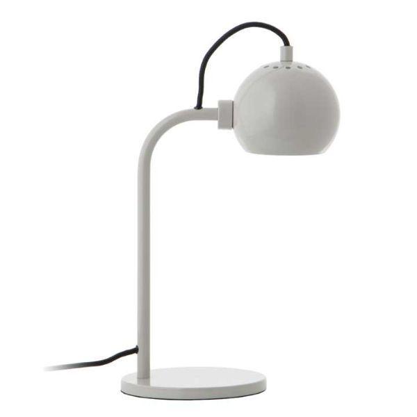 Nowoczesna lampa biurkowa Ball Single - jasnoszara, połysk