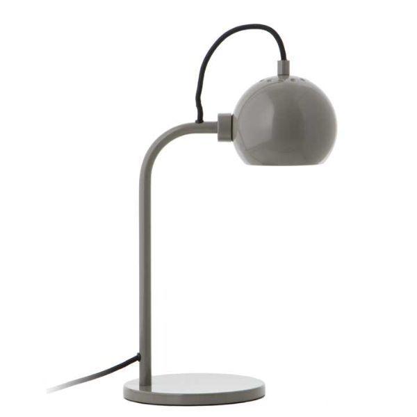 Szara lampa biurkowa Ball Single - ciepły odcień