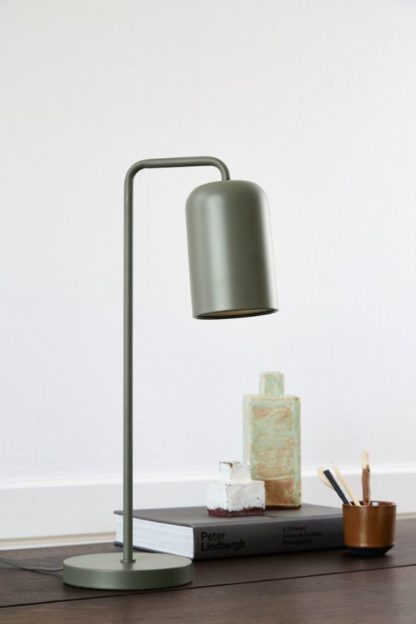 nowoczesna lampa biurkowa ciemna zieleń